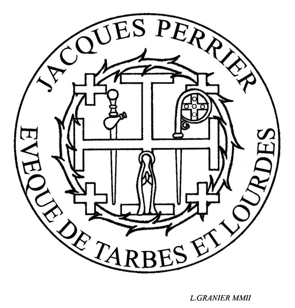 Rubber stamp created for Jacques Perrier, Bishop of Lourdes and Tarbes (...)
