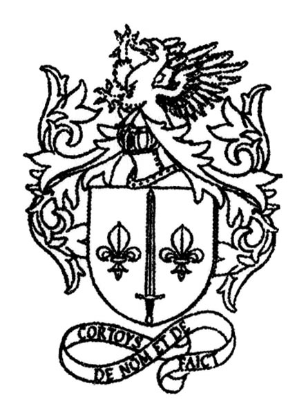 Rubber stamp created with the coat of arms of the noble family Courtois (...)