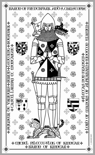 Design of a funerary brass to be engraved on a plate of brass.